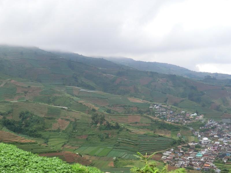 Ausblick vom Dieng-Plateau ins Tal